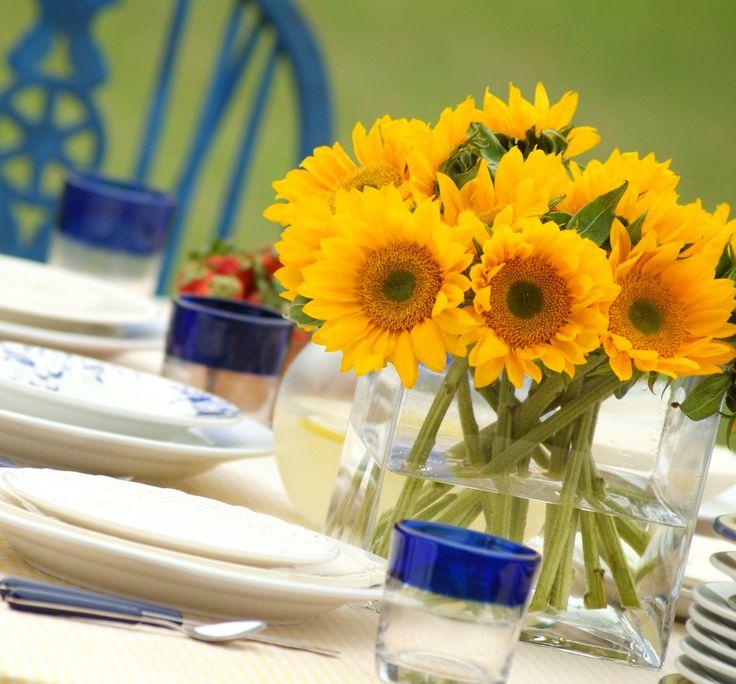 Rustic wedding. sunflowers centerpiece