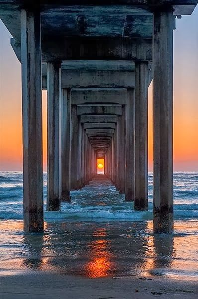 **twice a year, the setting sun lines up with Scripps Pier -