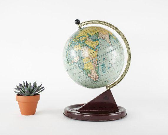 Vintage World Globe Chad Valley Tin Toy Globe Metal by RD1Vintage