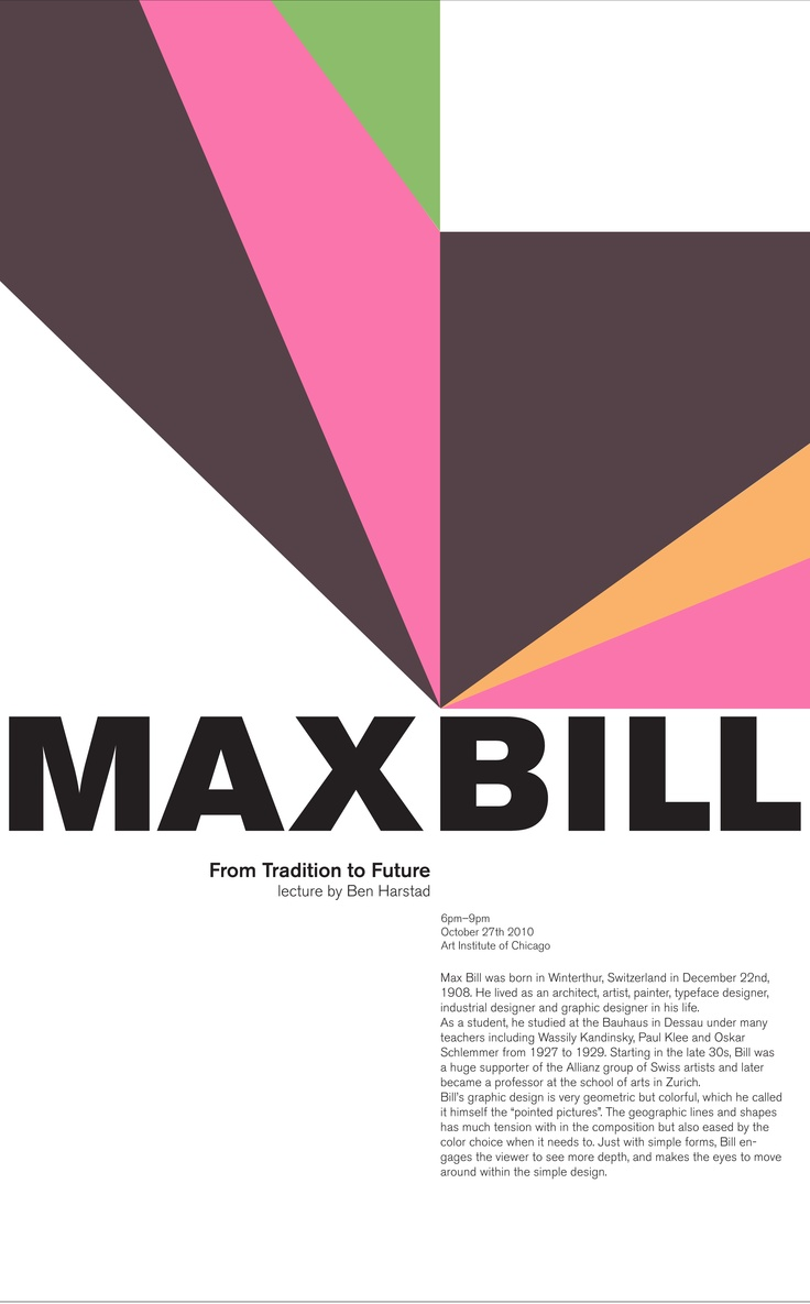 Poster design 1940 - Max Bill Poster By Stephanie Kim Featuring Graphics Derived From Bill S Untitled 1993 Artwork From