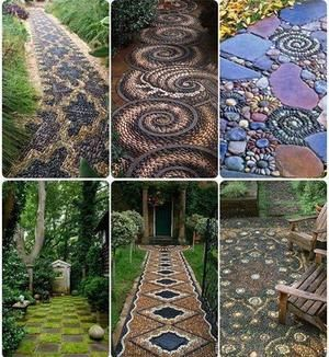 Prachtige mozaïek paden! jJe kunt zo natuurlijk ook een terras maken.