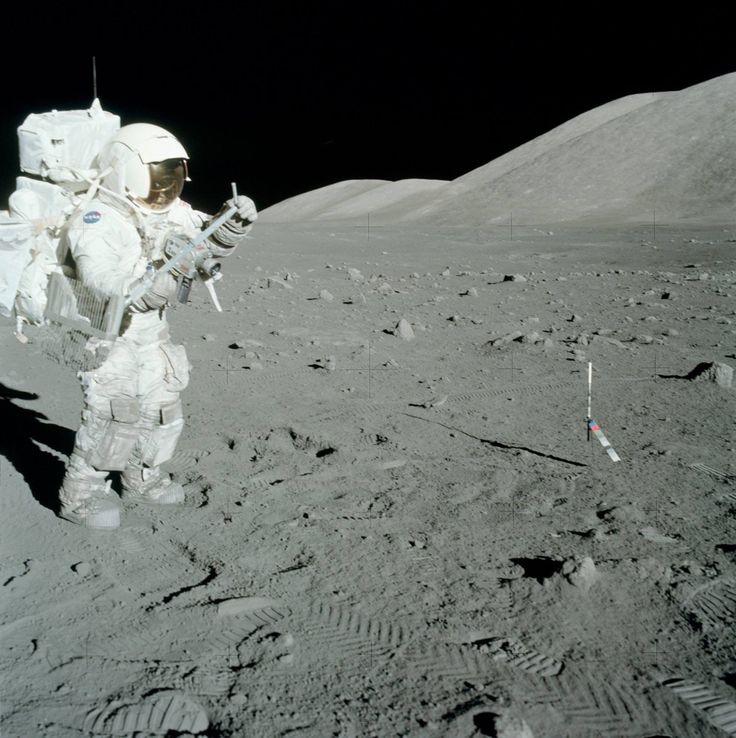 Apollo 17 - Jack Schmitt getting ready to do some raking.