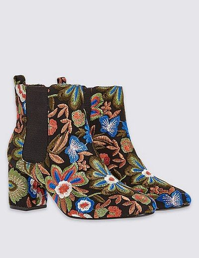 Embroidered Floral Ankle Boots with Insolia® | Marks & Spencer London
