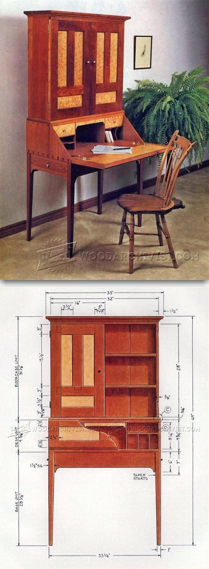 Drop Front Desk Plans - Furniture Plans and Projects | WoodArchivist.com