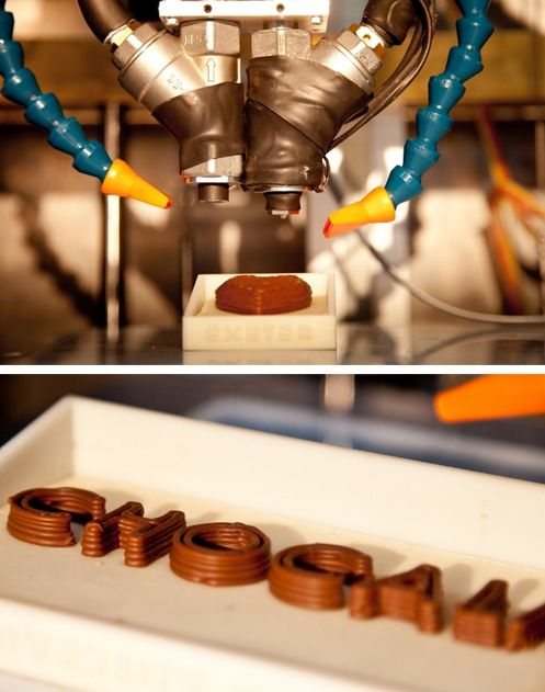 A prototype developed by researchers at the University of Exeter prints chocolate in 3D.