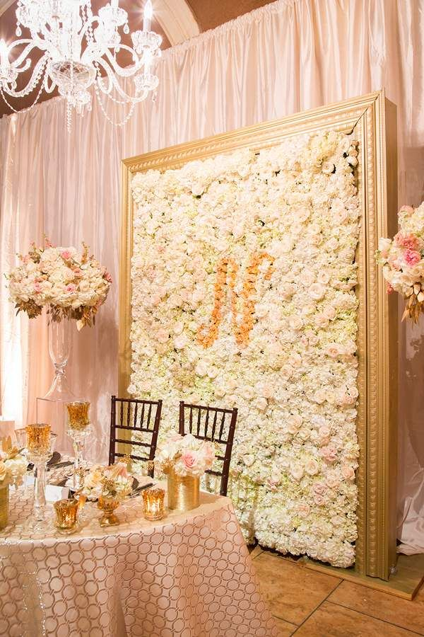 "Don't give much value to ""less is more""?  Was the above table still not enough for you?  Then we present you with possibly the most opulent sweetheart table backdrop we've ever seen."