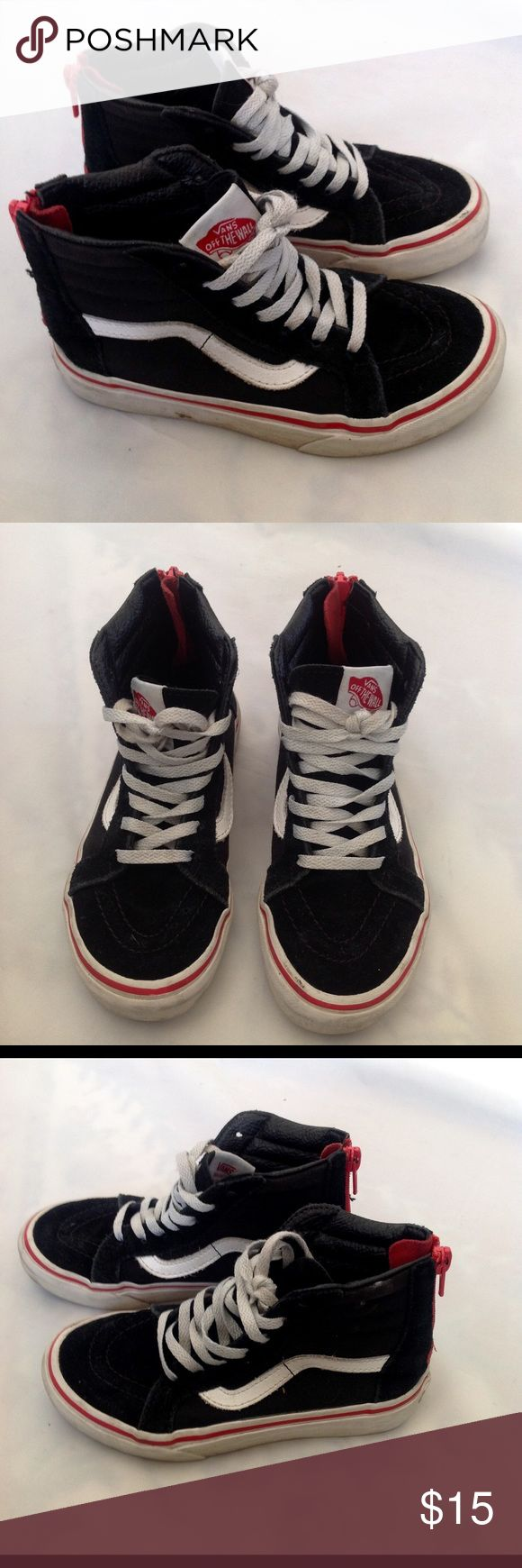 Vans Black Old Skool Hi Tops Suede and Canvas Have back zipper for easy on/off with no untying.  Base of zipper has suede red heart♥️  Youth size 12.5 No rips, holes or tears. Lots of life left! Vans Shoes