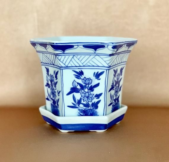 Chinoiserie Planter Blue White Asian Pottery Tray