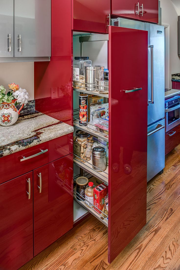 Kitchen cabinet colors and finishes - This Red Glossy Kitchen Cabinet Does Not Only Provide Inspiration For Paint Color And Finish But Also For Storage Solutions
