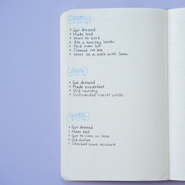 """Instead of making a daily to-do list, make a """"done"""" list.   Here's How To Use A Bullet Journal For Better Mental Health"""