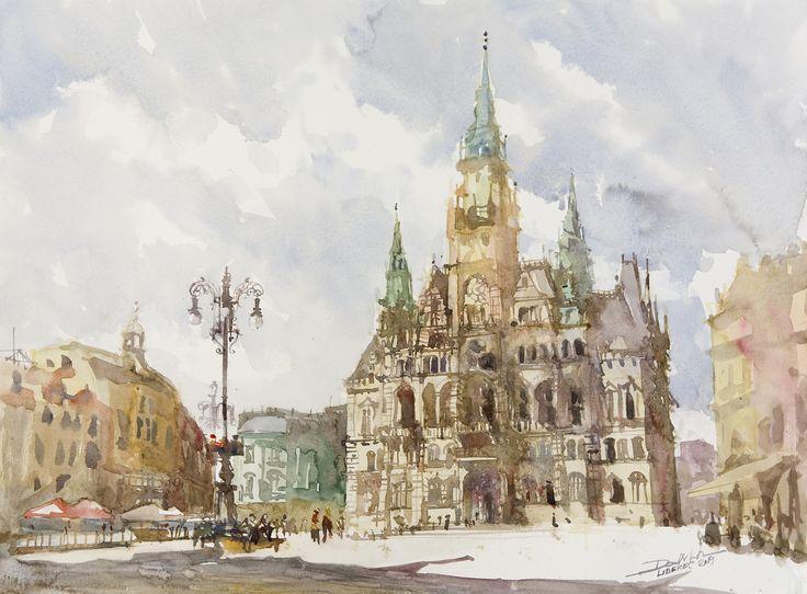 Liberec, 42x56cm, 2009 www.minhdam.com #architecture #watercolor #watercolour #art #artist #painting #jeleniagora #poland