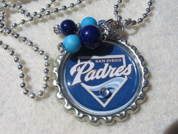 MLB San Diego Padres Baseball necklace by Sports Jewelry Studio on Etsy.  etsy.com/shop/sportsjewelrystudio.  $10.00.
