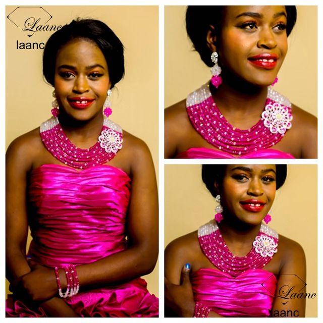 Laanc Marca Indio Joyería Nupcial Damas de honor de la Boda Nigeriano Beads Africanos Joyería Set Crystal Clear Hot Pink Collar AL267