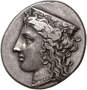 Statere - argento - Knossos, Creta, Grecia (350-325 a.C.) - la dea Hera con orecchino, collana di perle,e diadema ornato di palmette sui capelli folti e ricciuti - Münzkabinett Berlin
