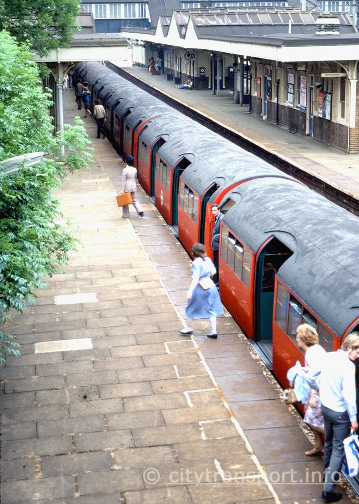 Harrow And Wealdstone station. Passengers unload from a London Transport Bakerloo Line train heading for Watford Junction eary 1980's