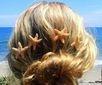 Blonde hair in a bun
