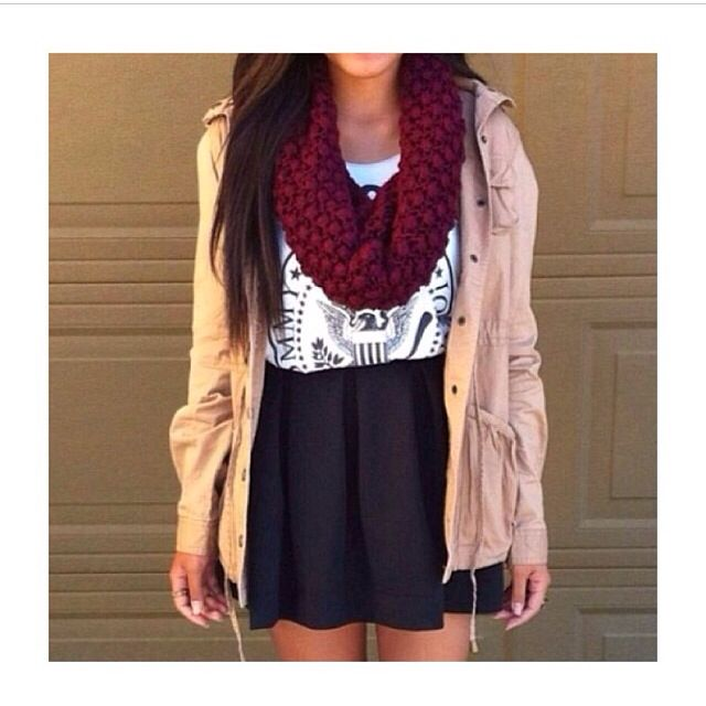 Tan utility jacket skater skirt with a maroon infinity scarf. Great for fall! | Things to Wear ...