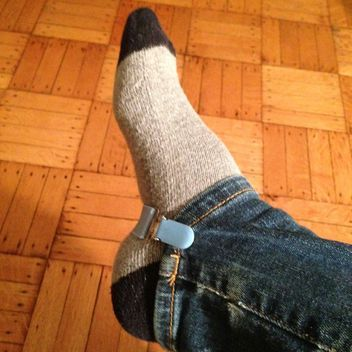 Use mitten clips to change your jeans into stirrup pants. Prevents the 'over the knee' bunching and makes slipping into boots so much easier!