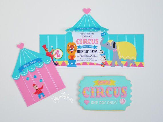 Circus Tent Invitation Printable Circus Invite by PaperBuiltShop