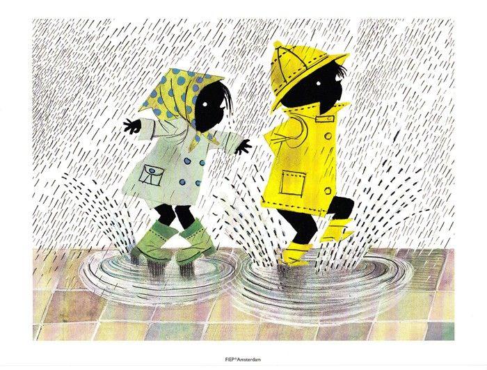 In de regen - Mooie prent van Jip en Janneke voor op de kinderkamer. De prent is gedrukt op stevig papier, dus kan op een plankje worden neergezet. Inlijsten of met tape ophangen aan de wand kan natuurlijk ook.  Afmeting: 18 x 24cm Materiaal: 300 grams papier