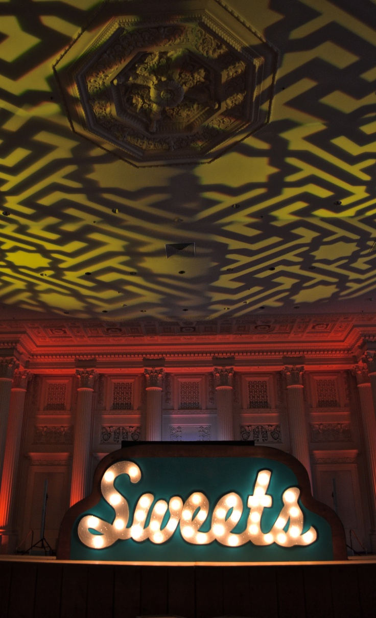 Sweets marquee by Bird Dog Creative & amazing lighting installed by Greenlight Creative