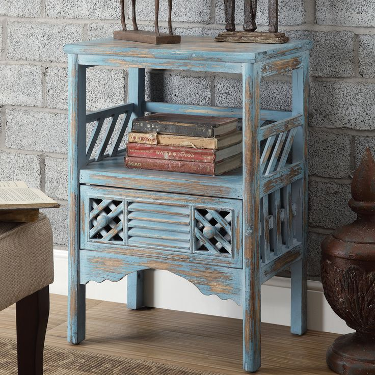 Coast to Coast Imports Distressed 1 Drawer End Table & Reviews | Wayfair