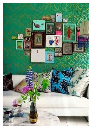 Frame wall collage with pop of colors