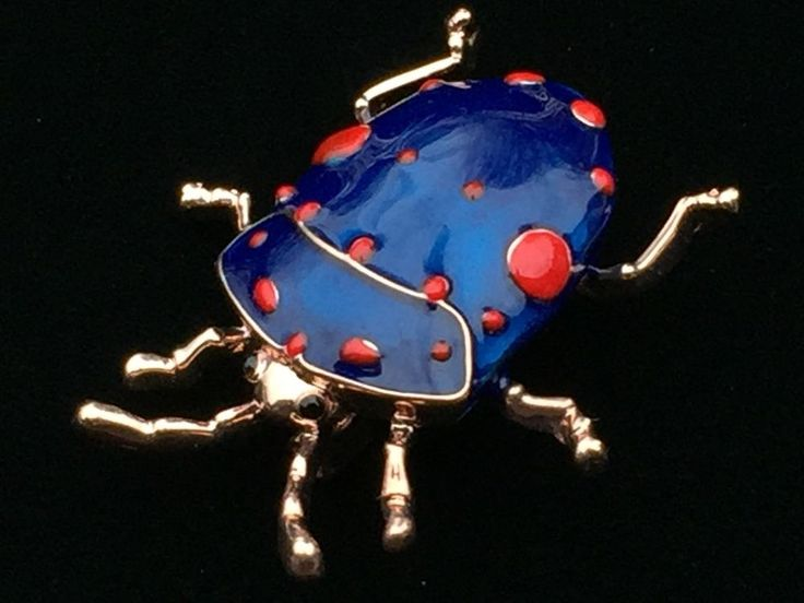 BLUE RED FLEA TICK INSECT SCARAB JUNE BUG RAIN STAG BEETLE PIN BROOCH JEWELRY  #Unbranded
