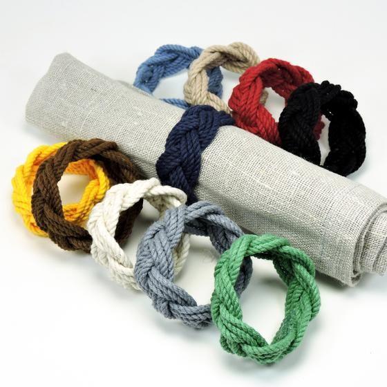 Sailor Knot Napkin Rings, Nautical Colors, Set of 4 - Mystic Knotwork nautical knot