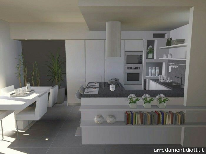 Cucina con gola penisola bianca e grigio