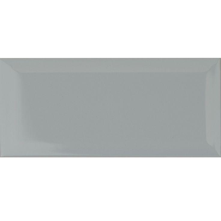 grey metro tiles with white grouting - Ubahnaufkantung Grau