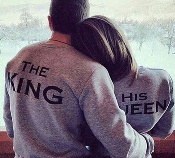 The King and His Queen Couples Jumpers Matching Shirts His and Hers King Queen Royals Mr Mrs Bride and Groom Tumblr black white grey