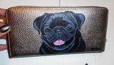 Black Pug dog Hand Painted Ladies Leather  Wallet Vegan