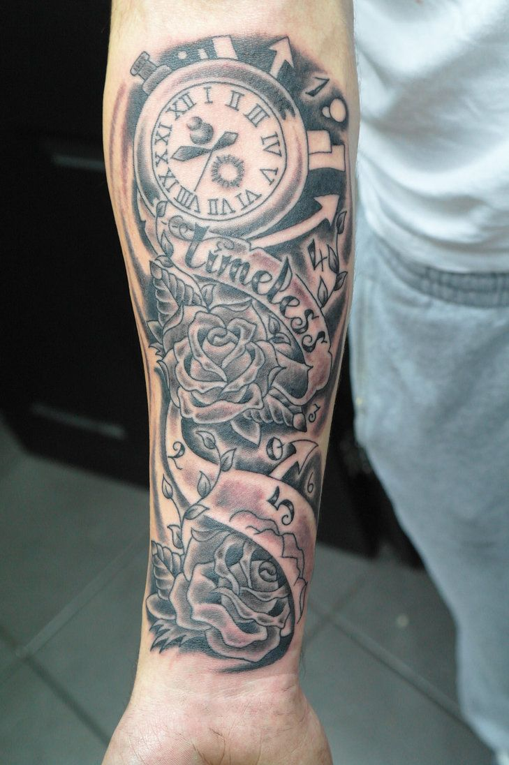 Clock forearm black rose sleeve tattoo - The Gallery For Half Sleeve Tattoos Timeless
