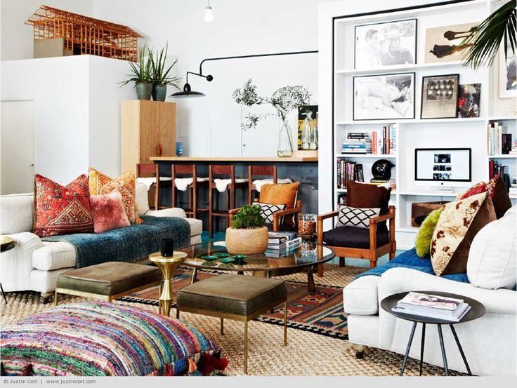 A bright eclectic living room