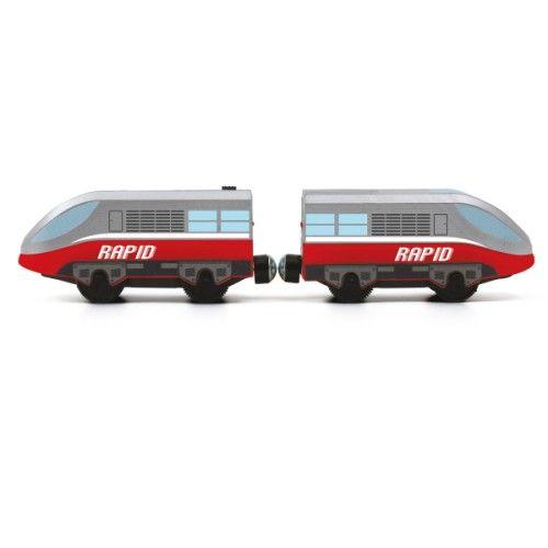 Le train urban est un train motorisé à grande vitesse. Il parcourt les circuits de train dans un sens et dans l'autre sens. Compatible avec tous les circuits en bois,  il amène les passagers à leur destination à vive allure, sous la direction de l'enfant.