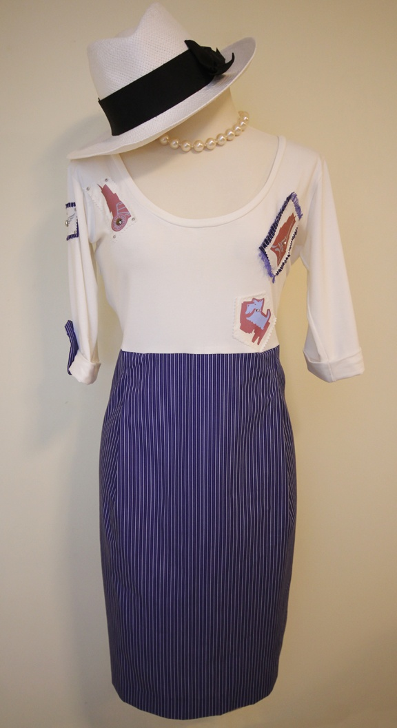 Step out with this unique and classy dress. The top is made from stretch cotton and the skirt is made from polyester cotton. Reflective details are handmade and give it a couture feel. Message to order or for more information
