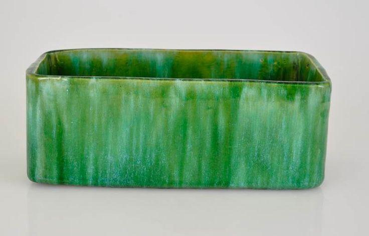 "25cm x 9.5cm x 11.5cm John Campbell Pottery Green Driip Glaze 9"" Rounded Trough Vase Signed   eBay"