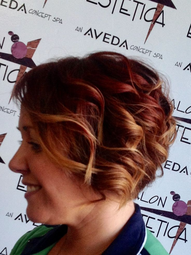 Curly Red with Blonde Highlights