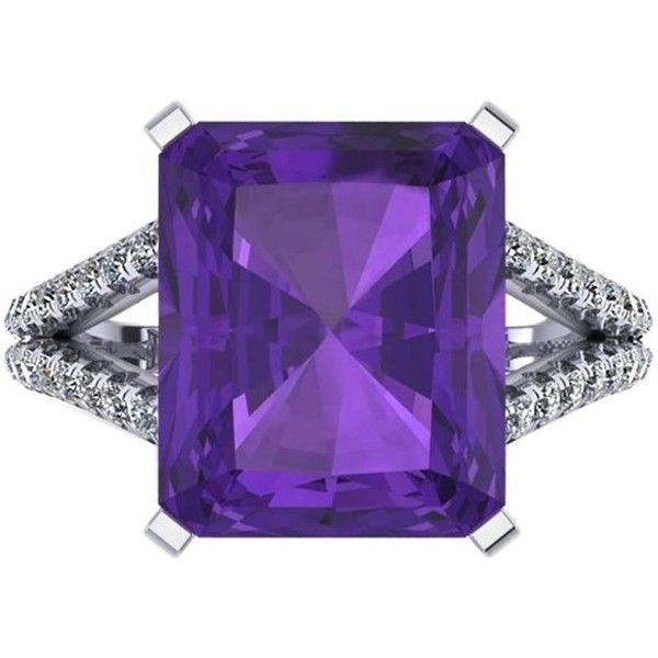 Preowned Ferrucci Amethyst Diamond Handmade Cocktail Ring ($3,500) ❤ liked on Polyvore featuring jewelry, rings, cocktail rings, purple, 18k ring, amethyst diamond ring, statement diamond rings, diamond jewelry and 18 karat gold ring