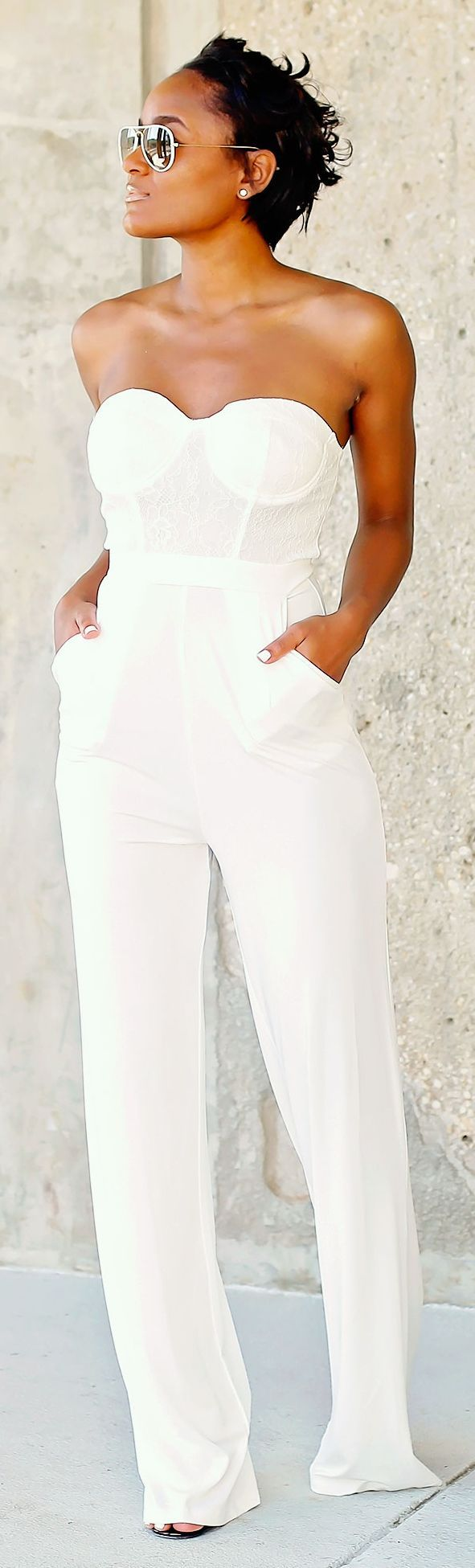 Missguided White Pallazo Lace Bustier Jumpsuit by The Daileigh