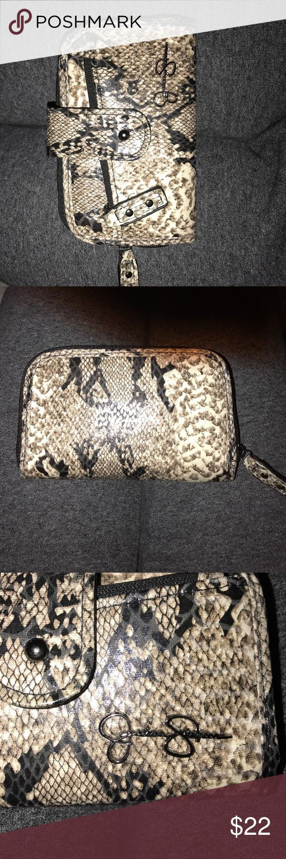 Jessica Simpson Wallet Snakeskin Jessica Simpson Snake Print Wallet...2 Snakeskin Attachments to either make it a wristlet or a small cross body bag!! Jessica Simpson Bags Wallets