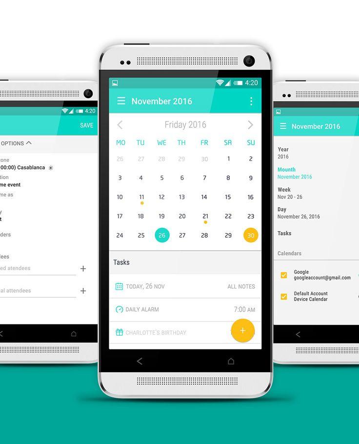"""다음 @Behance 프로젝트 확인: """"android Material Design calendar App"""" https://www.behance.net/gallery/46396237/android-Material-Design-calendar-App"""