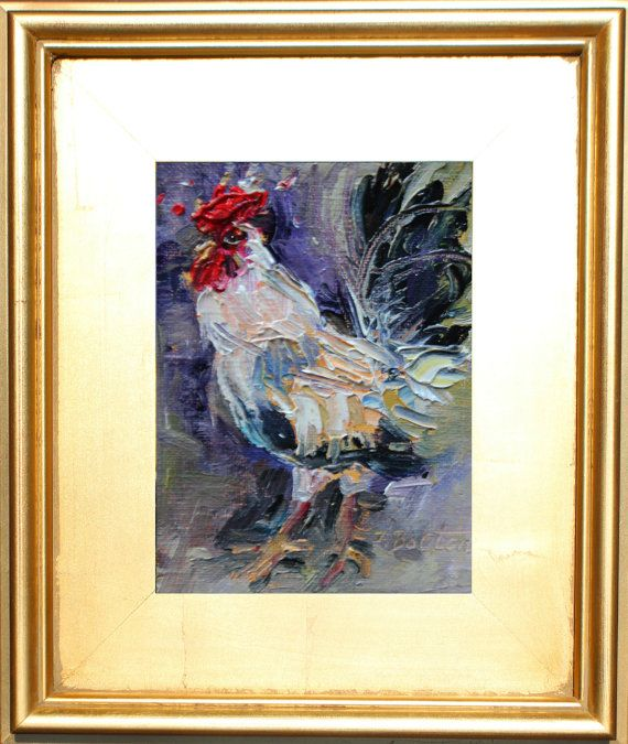 Rooster small Rooster Painting Miniature by ingridspaintings