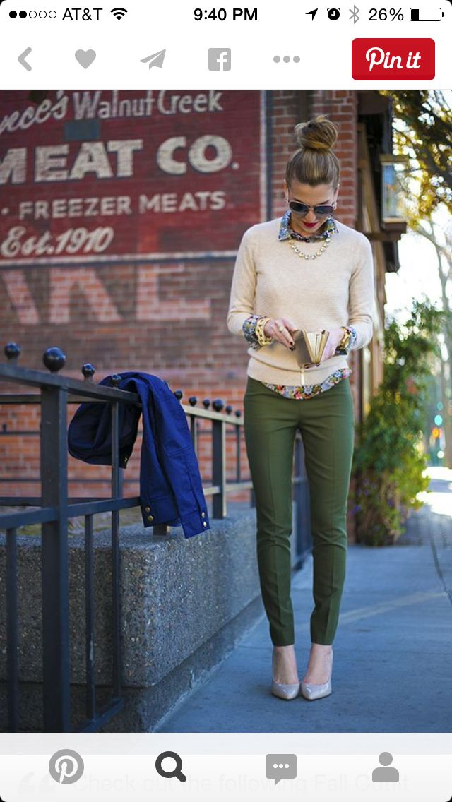 Army green pants and gold