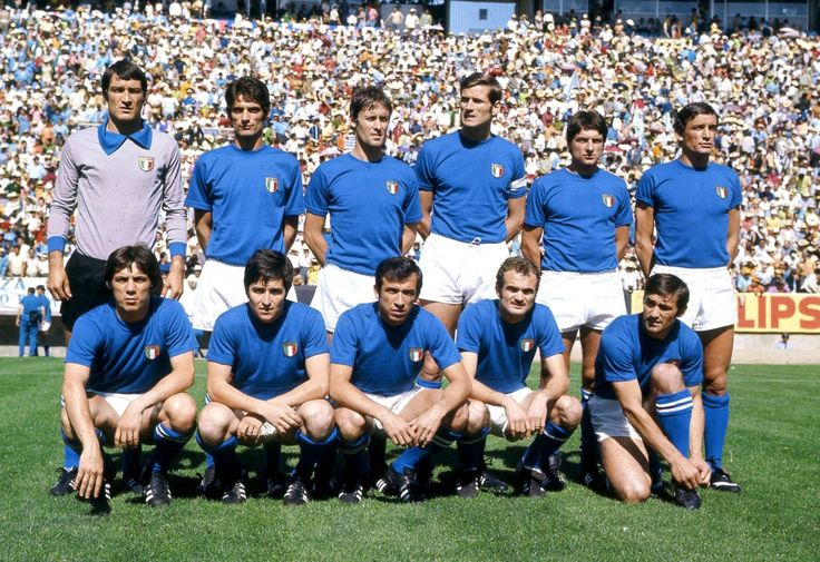 Azzurri to face Brazil in the 1970 World Cup final:  Albertosi, Domenghini, Rosato, Facchetti, Bertini, Riva; Boninsegna, De Sisti, Cera, Mazzola, Burgnich