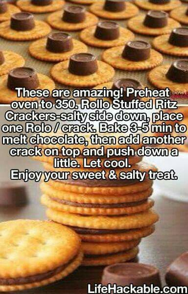 Rollo Stuffed Ritz Cracker cookies. You can also dip these in melted chocolate.