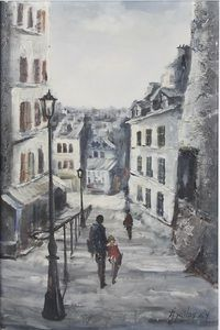 """Jorge Aguilar-Agon (b1936), oil on canvas, a Parisian street scene with figures and building, signed 29"""" x 19""""  SOLD FOR £110"""