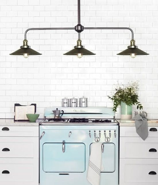 MANOR 3 LIGHT BAR PENDANT FRAME IN AGE STEEL WITH 200MM ANTIQUE NICKEL SHADES