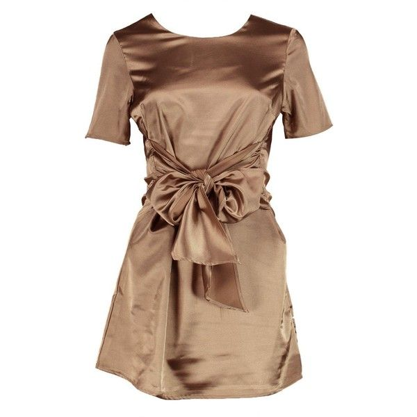 Boohoo Petite Charlie Satin Tie Waist Shift Dress | Boohoo (€33) ❤ liked on Polyvore featuring dresses, beige shift dress, beige dress, petite dresses, shift dress and boohoo dresses